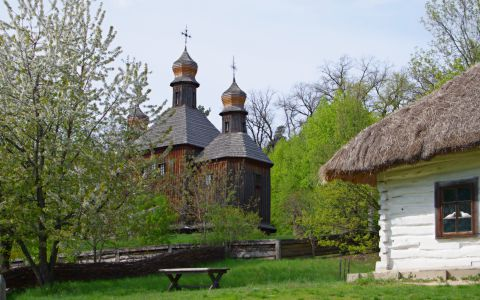 Ukrainian village with church
